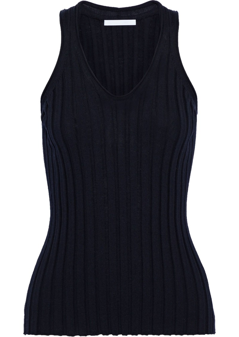 Helmut Lang Woman Ribbed Wool Tank Midnight Blue