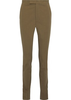 Helmut Lang Woman Rider Stretch-cotton Twill Skinny Pants Army Green