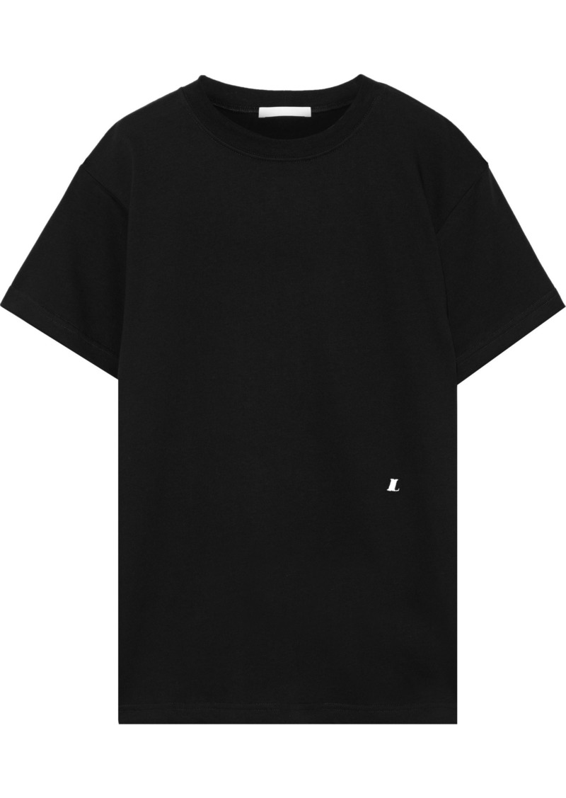 Helmut Lang Woman Ring-embellished Cotton-jersey T-shirt Black