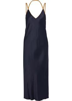 Helmut Lang Woman Rubberband Open-back Satin Midi Slip Dress Midnight Blue