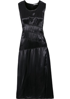 Helmut Lang Woman Ruched Satin Midi Dress Black