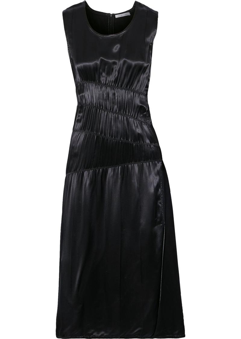 Helmut Lang Woman Ruched Satin Midi Dress Black
