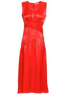 Helmut Lang Woman Ruched Satin Midi Dress Bright Orange