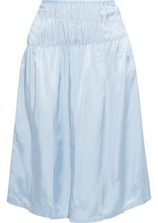 Helmut Lang Woman Ruched Satin Skirt Sky Blue