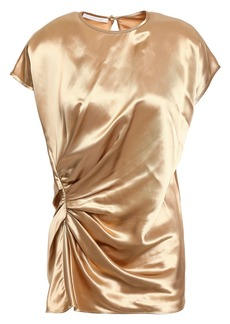 Helmut Lang Woman Ruched Satin Top Gold