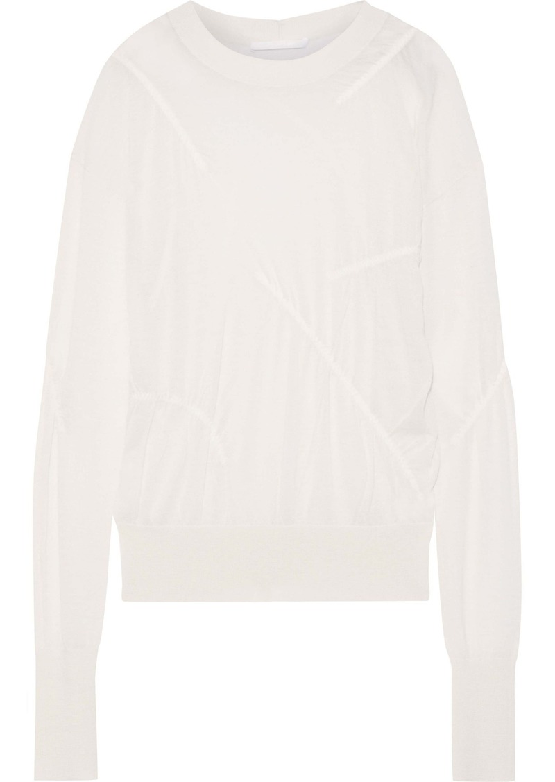 Helmut Lang Woman Ruched Slub Cashmere Top Off-white