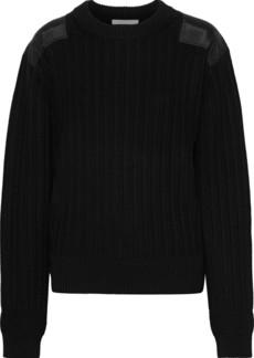 Helmut Lang Woman Sateen-appliquéd Ribbed Cotton Sweater Black