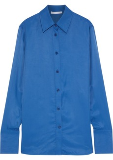 Helmut Lang Woman Sateen Shirt Cobalt Blue