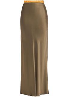 Helmut Lang Woman Satin Maxi Skirt Army Green
