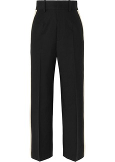 Helmut Lang Woman Satin-trimmed Canvas Wide-leg Pants Black