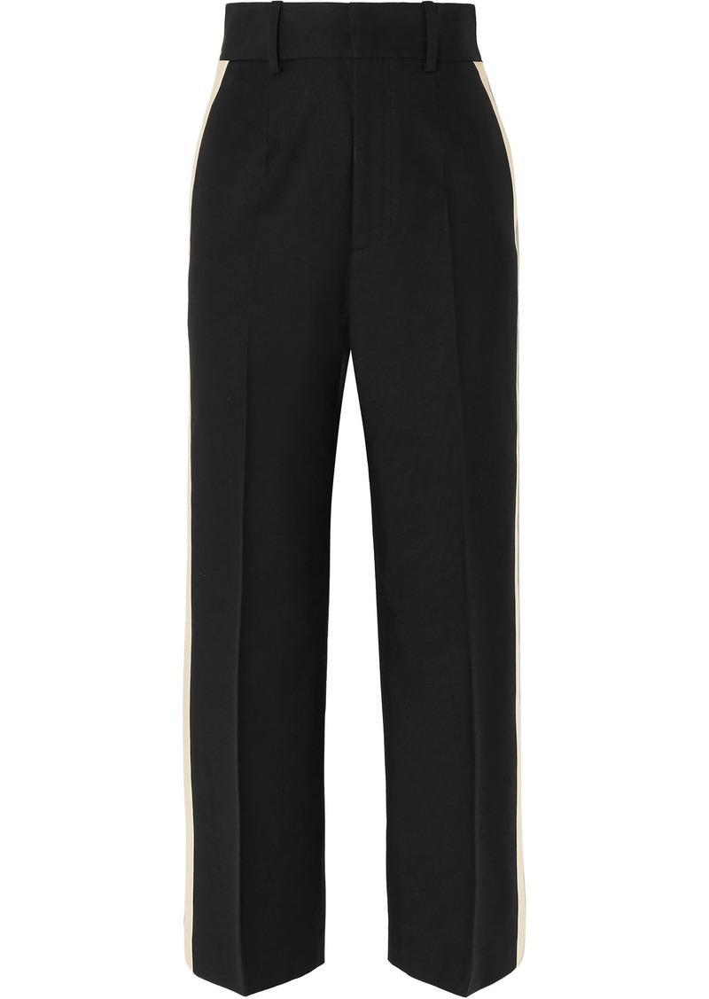 Helmut Lang Woman Satin-trimmed Canvas Wide-leg Pants Black