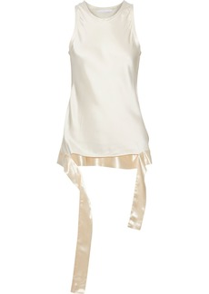 Helmut Lang Woman Satin-trimmed Draped Charmeuse Blouse Ivory