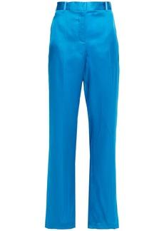 Helmut Lang Woman Satin-trimmed Silk-organza Straight-leg Pants Azure