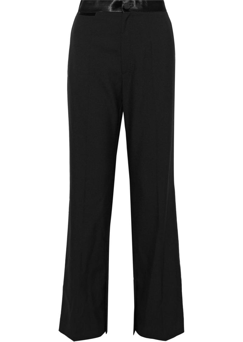 Helmut Lang Woman Satin-trimmed Wool And Mohair-blend Wide-leg Pants Black