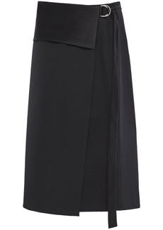 Helmut Lang Woman Satin-trimmed Wool-twill Wrap Skirt Black