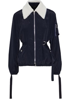 Helmut Lang Woman Shearling-trimmed Shell Bomber Jacket Midnight Blue