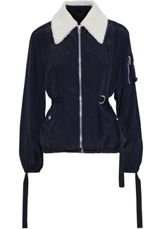 Helmut Lang Woman Shearling-trimmed Strap-detailed Crinkled-shell Jacket Midnight Blue