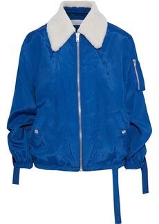 Helmut Lang Woman Shearling-trimmed Strap-detailed Crinkled-shell Jacket Cobalt Blue