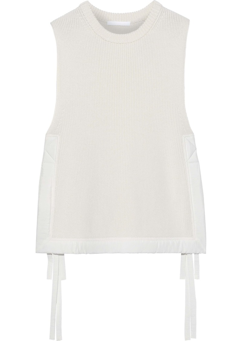 Helmut Lang Woman Shell-trimmed Ribbed Cotton Top Ivory