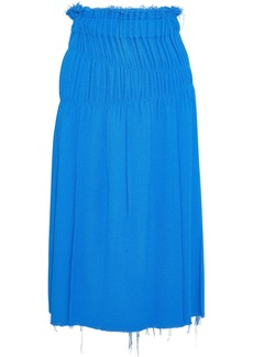 Helmut Lang Woman Shirred Bouclé Midi Skirt Bright Blue