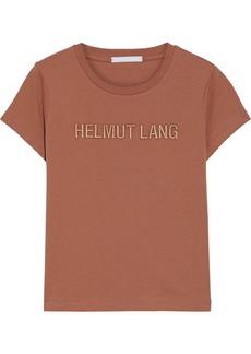 Helmut Lang Woman Standard Baby Embroidered Cotton-jersey T-shirt Light Brown