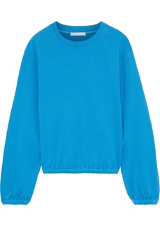 Helmut Lang Woman Strap-detailed French Cotton-terry Sweatshirt Light Blue