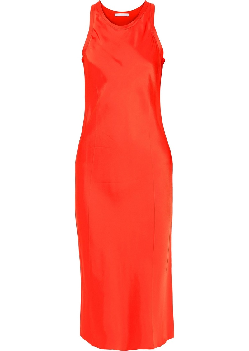 Helmut Lang Woman Strap-detailed Satin Dress Bright Orange
