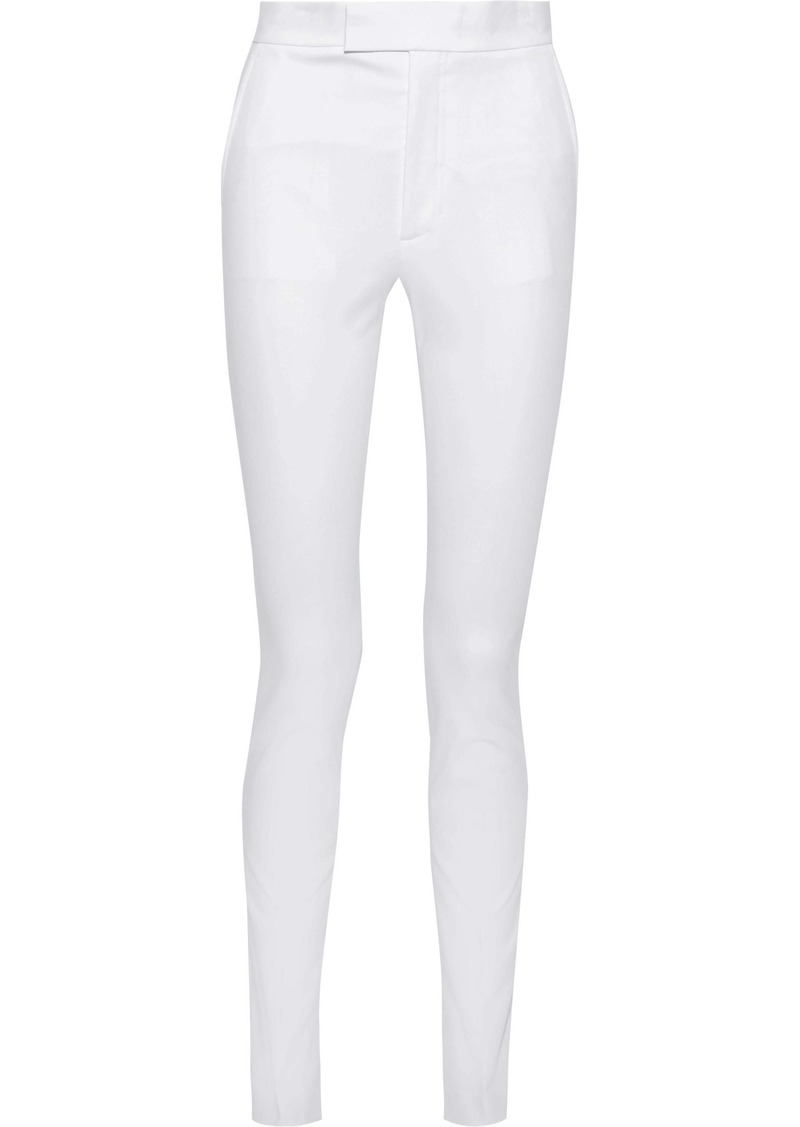 Helmut Lang Woman Rider Stretch-cotton Twill Skinny Pants White