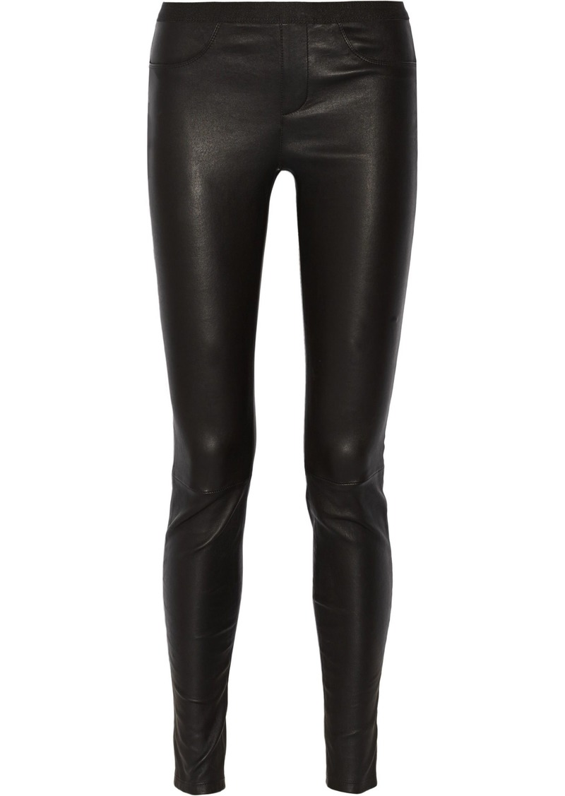 Helmut Lang Woman Stretch-leather Leggings Black