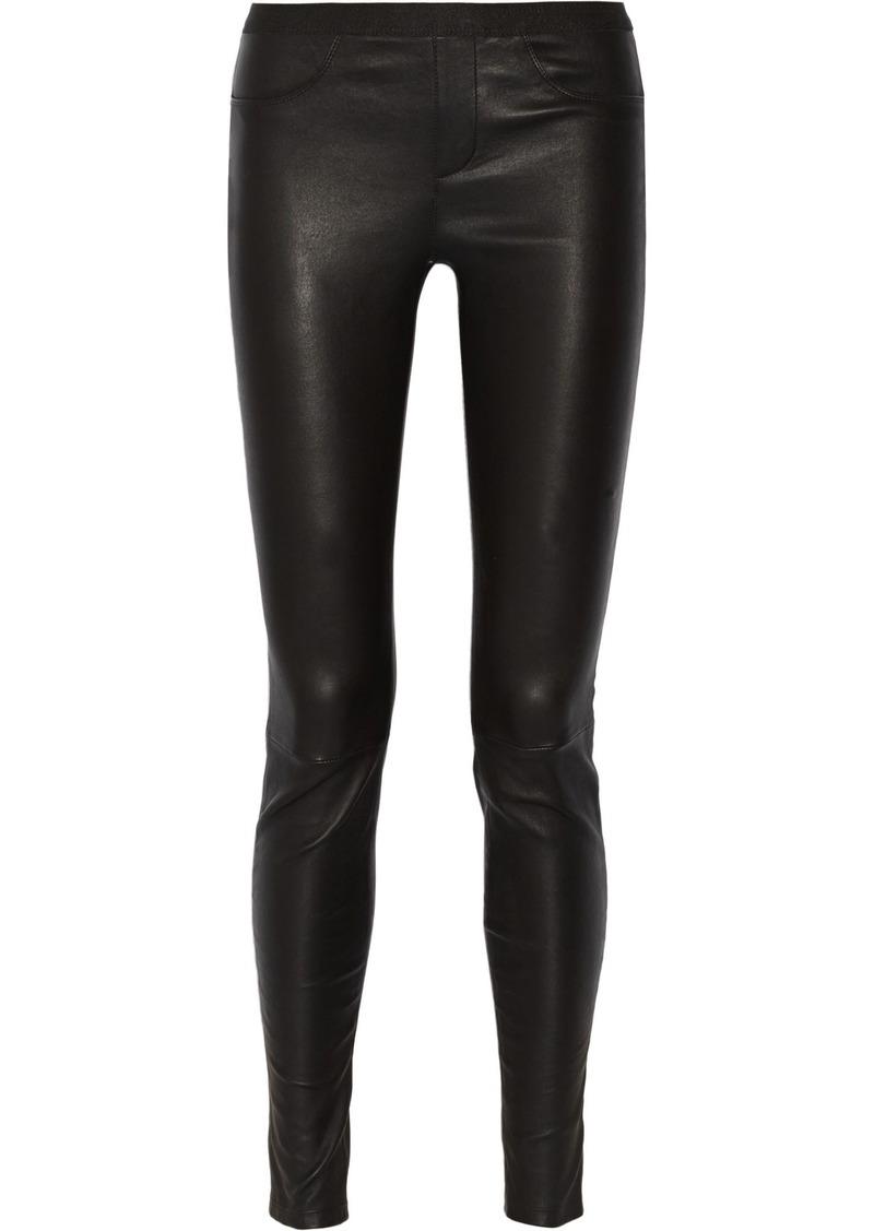 Helmut Lang Woman Stretch-leather Leggings Black