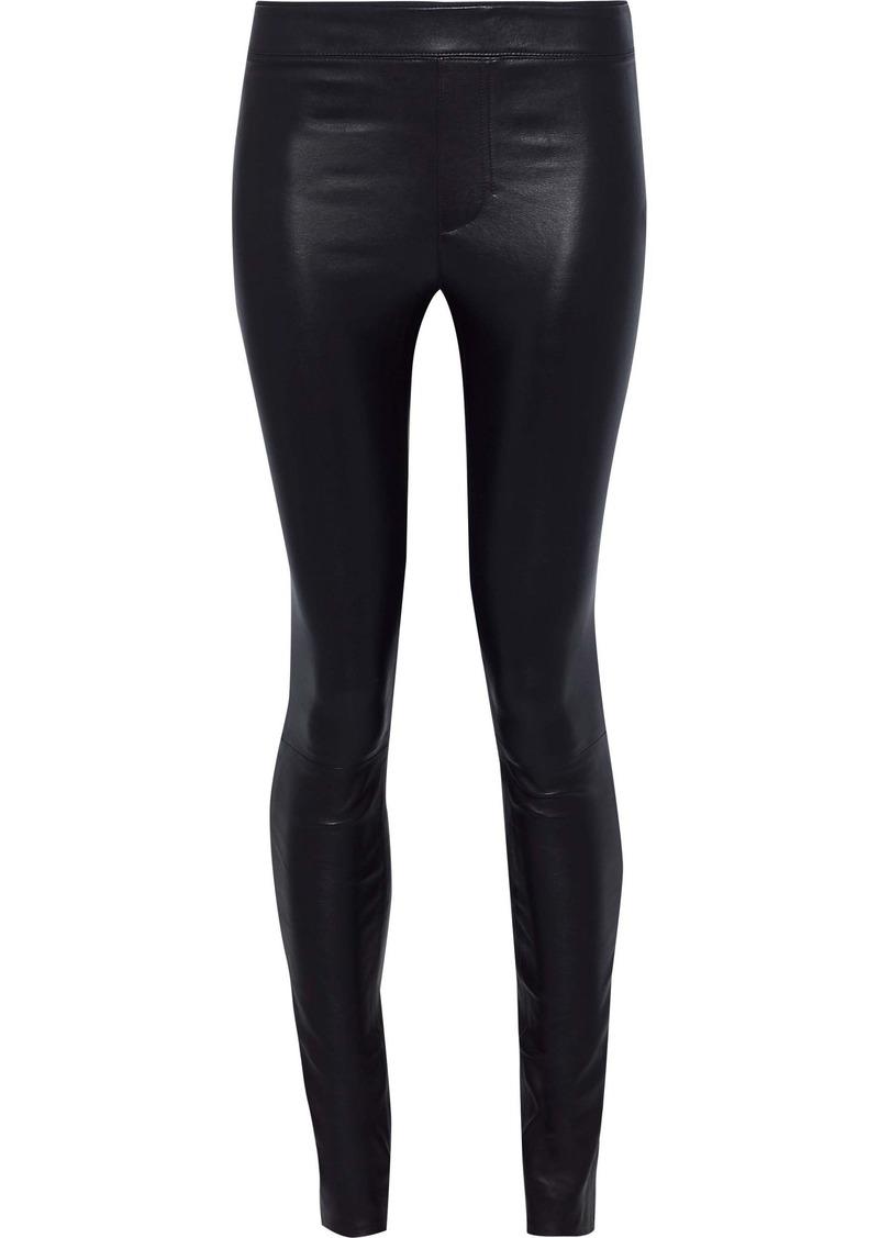 Helmut Lang Woman Stretch-leather Leggings Dark Purple