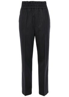 Helmut Lang Woman Stretch-wool Tapered Pants Charcoal
