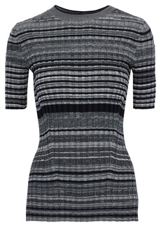 Helmut Lang Woman Striped Ribbed Wool And Cashmere-blend Top Anthracite
