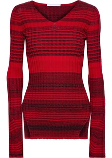 Helmut Lang Woman Striped Ribbed Wool And Cotton-blend Top Red