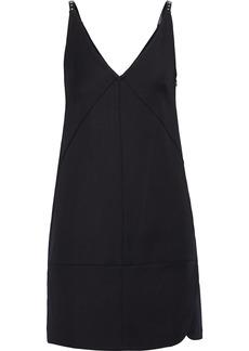 Helmut Lang Woman Studded Faux Leather-trimmed Ponte Mini Slip Dress Black