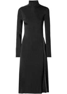 Helmut Lang Woman Studded Faux Leather-trimmed Satin-jersey Turtleneck Midi Dress Black