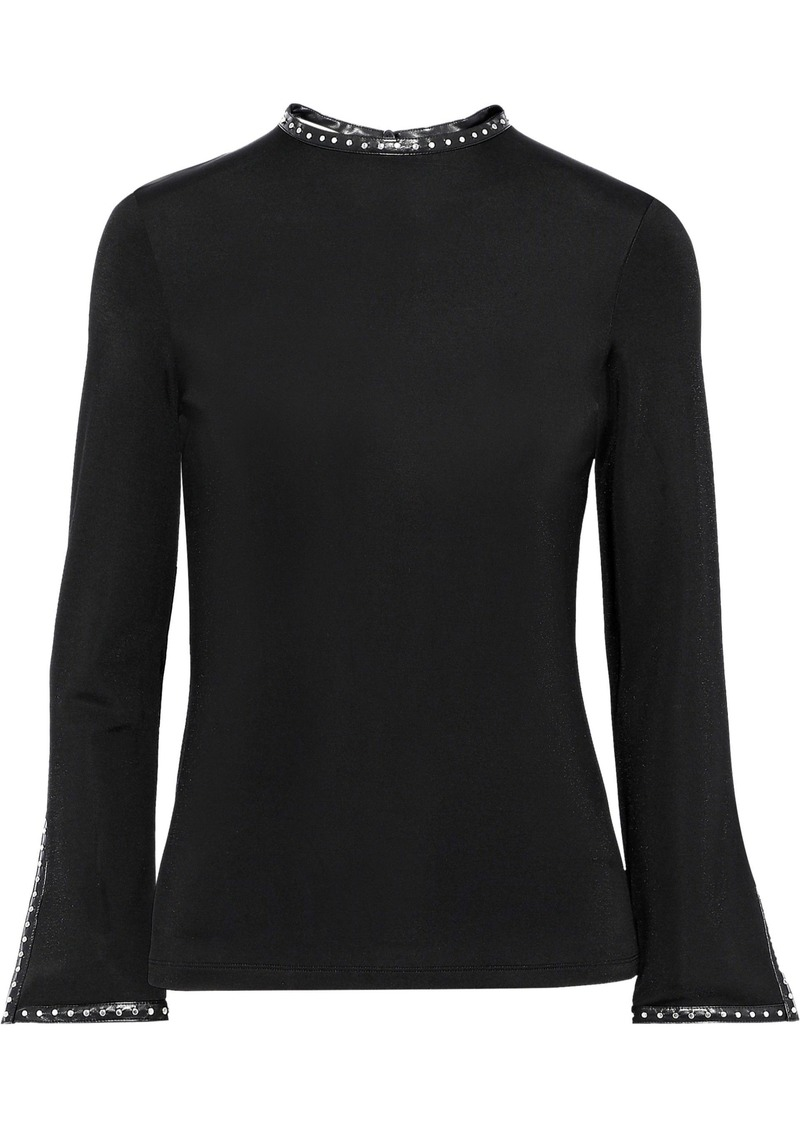 Helmut Lang Woman Studded Faux Leather-trimmed Stretch-jersey Top Black