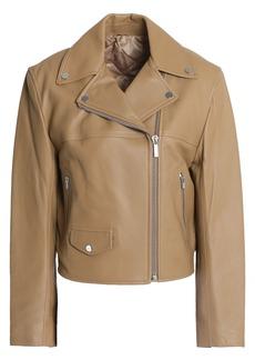 Helmut Lang Woman Tie-back Leather Biker Jacket Sand