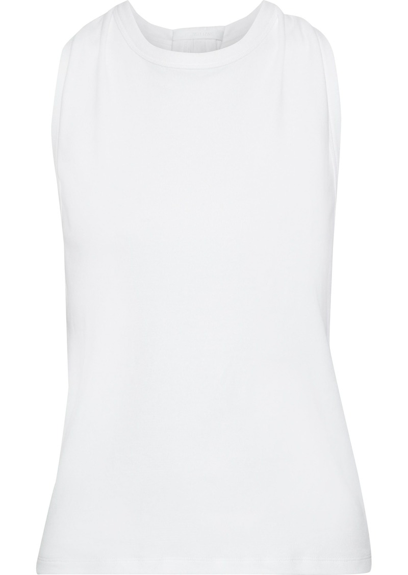 Helmut Lang Woman Twist-back Cotton-jersey Top White