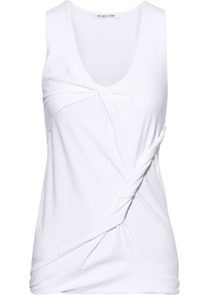Helmut Lang Woman Twisted Draped Cotton-blend Jersey Tank White