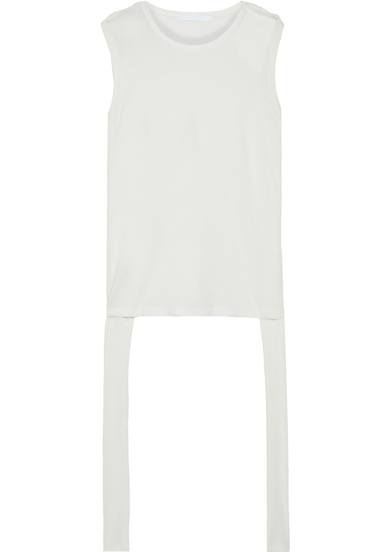 Helmut Lang Woman Twisted Draped Silk And Cotton-blend Jersey Tank Off-white