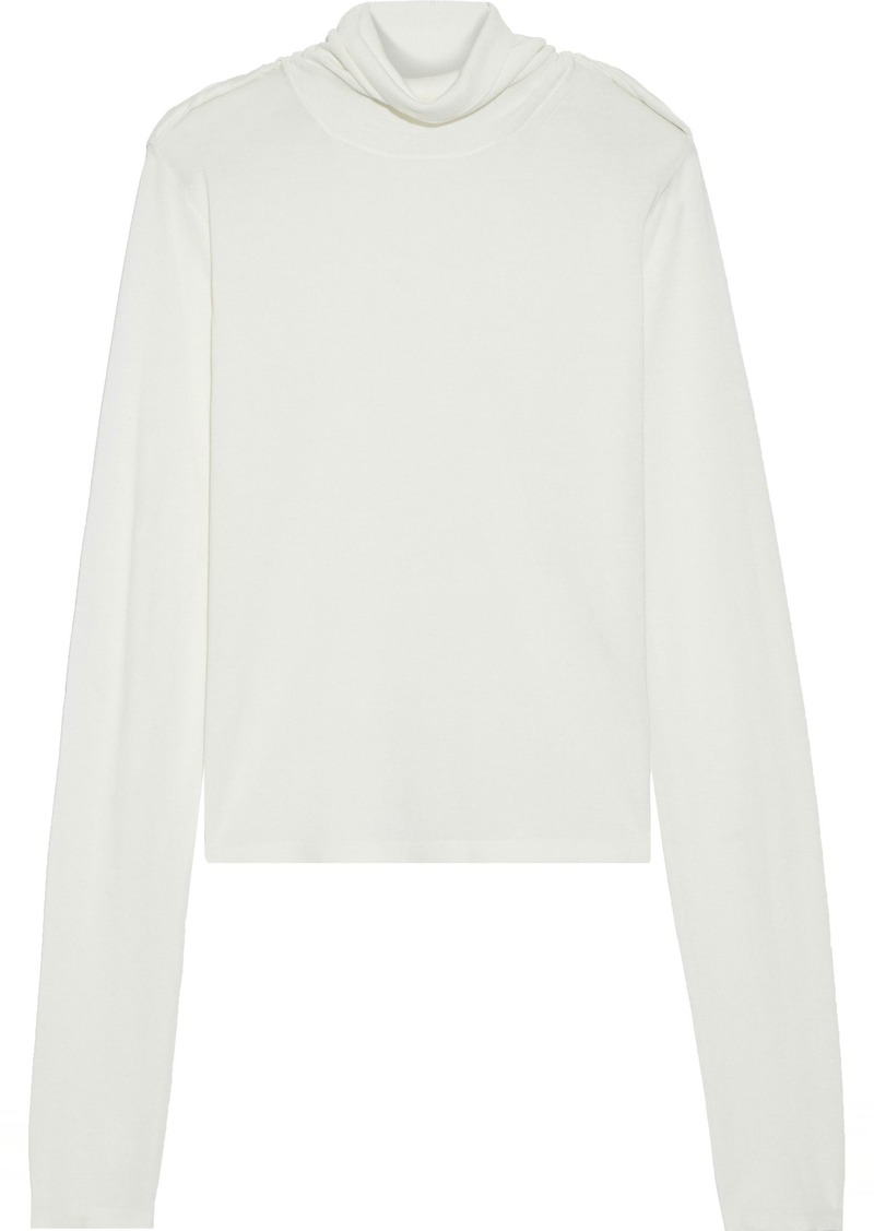 Helmut Lang Woman Twisted Silk And Cotton-blend Jersey Turtleneck Top Off-white