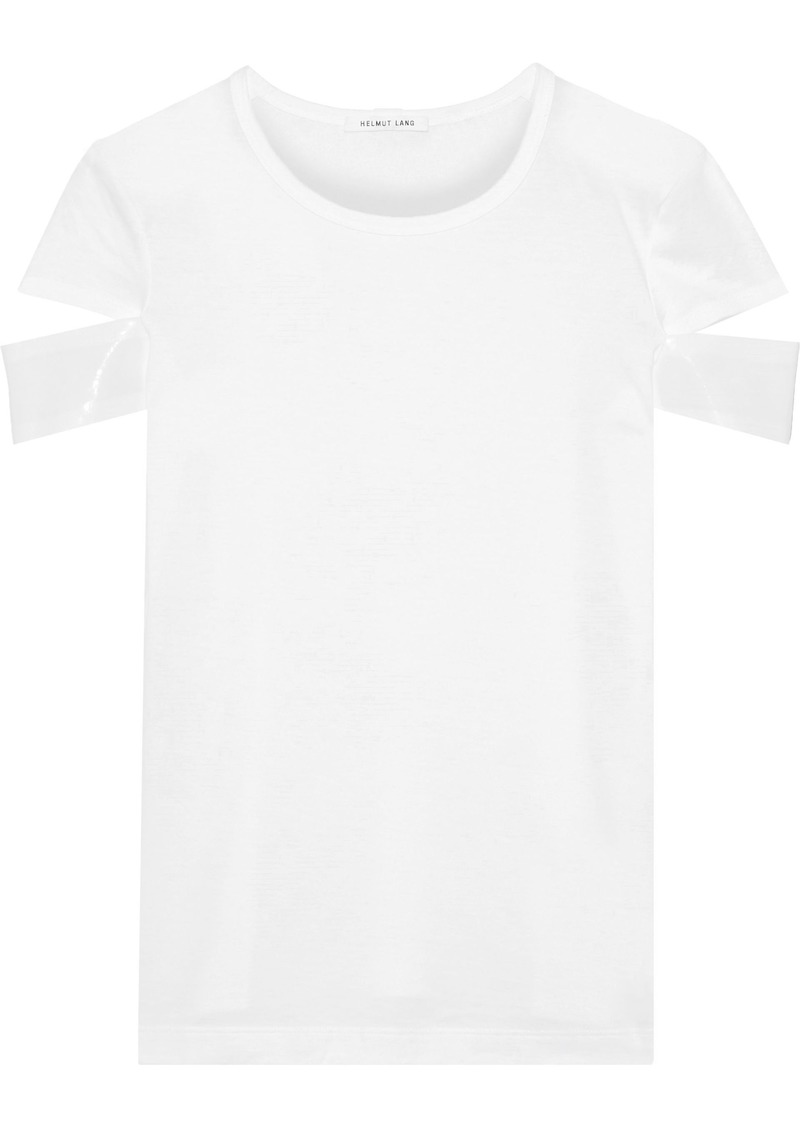 Helmut Lang Woman Vinyl-trimmed Cutout Pima Cotton-jersey T-shirt White