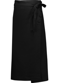 Helmut Lang Woman Wrap-effect Cotton And Linen-blend Midi Skirt Black
