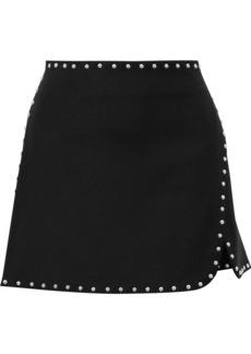 Helmut Lang Woman Wrap-effect Studded Ponte Mini Skirt Black