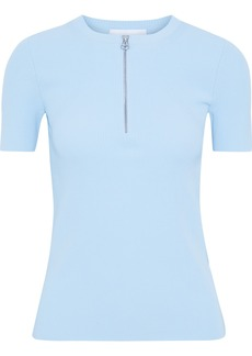 Helmut Lang Woman Zip-detailed Ribbed-knit Top Sky Blue