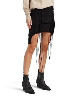 Helmut Lang Women's Aviator Layered Cotton Jersey Lace-Up Miniskirt