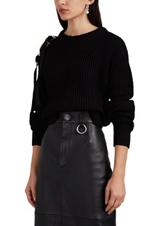 Helmut Lang Women's Buckle-Shoulder Chunky Rib-Knit Sweater