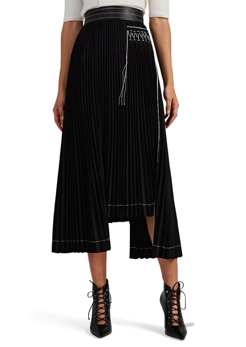 Helmut Lang Women's Contrast-Stitched Pleated Midi-Skirt