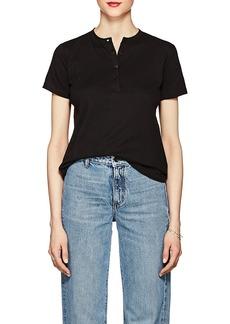 Helmut Lang Women's Cutout-Back Cotton Short-Sleeve Henley